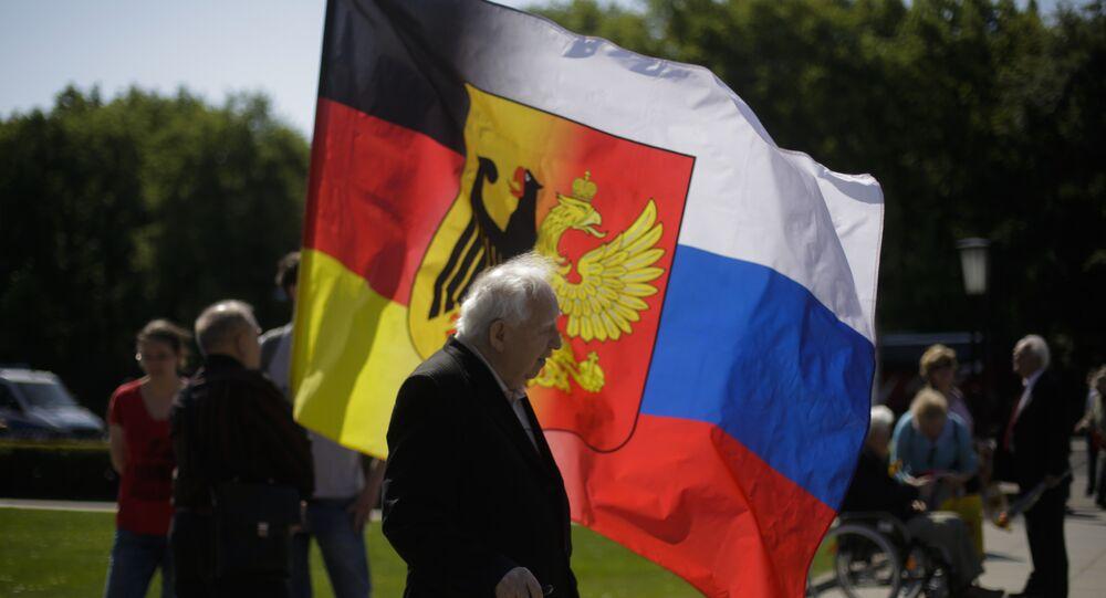 Německo-ruská vlajka v Berlině