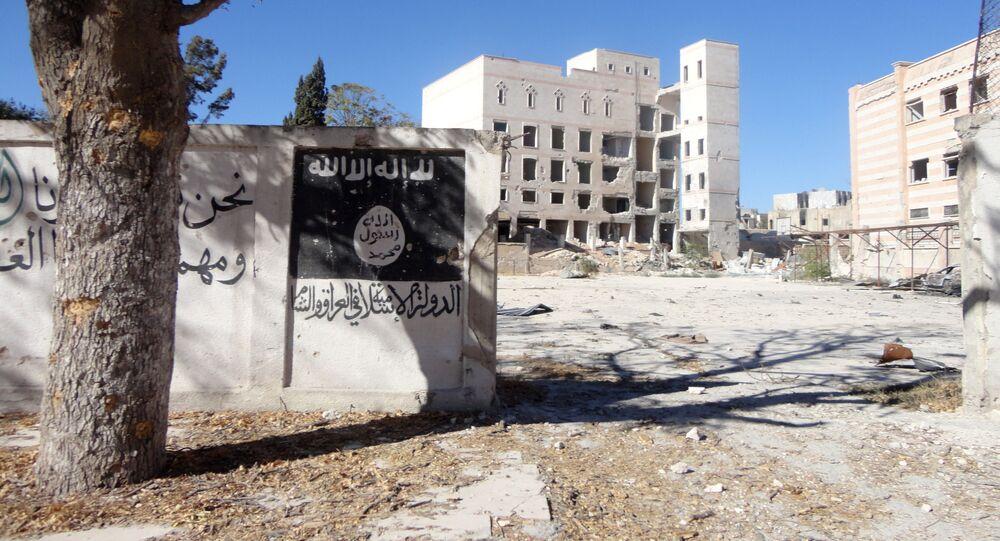 Vlajka IS v syrském Manbidži