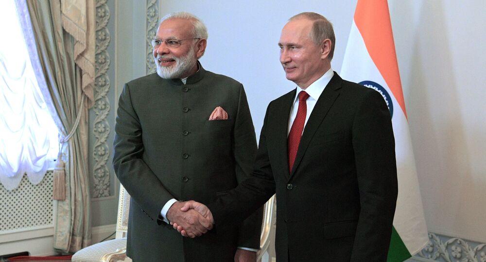 Ruský prezident Vladimir Putin a indický premiér Naréndra Módí