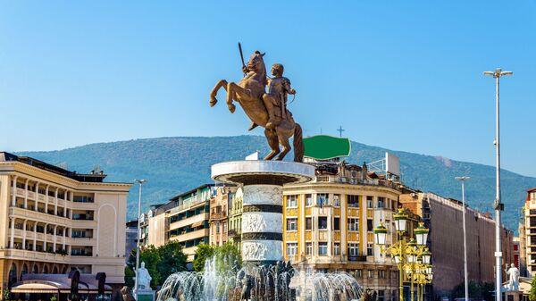 Вид на площадь в македонском городе Скопье  - Sputnik Česká republika