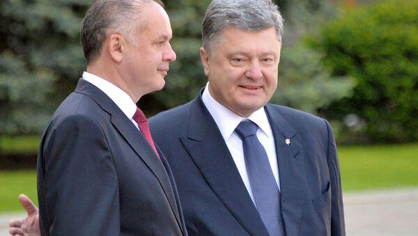 Ukrajinský prezident Petro Porošenko a slovenský prezident Andrej Kiska - Sputnik Česká republika