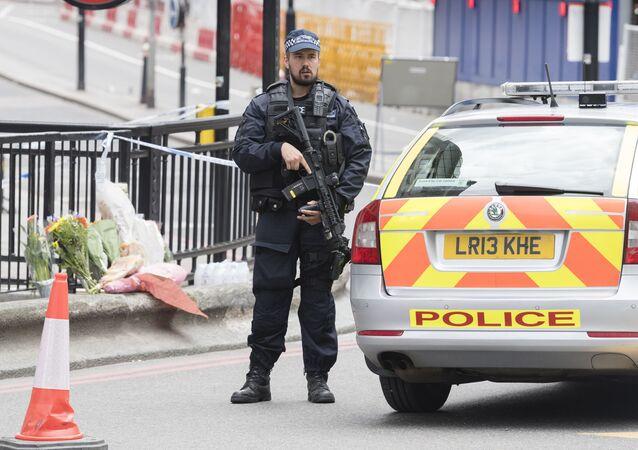 Britský policista hlídkuje u metra. Ilustrační foto