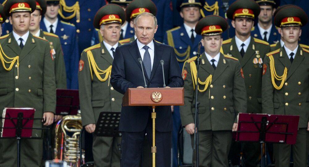 Vladimir Putin během fóra Armáda 2015
