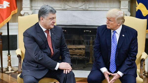 Ukrajinský prezident Petro Porošenko během schůzky s americkým prezidentem Donaldem Trumpem - Sputnik Česká republika