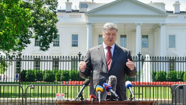 Petro Porošenko na pozadí Bílého domu - Sputnik Česká republika