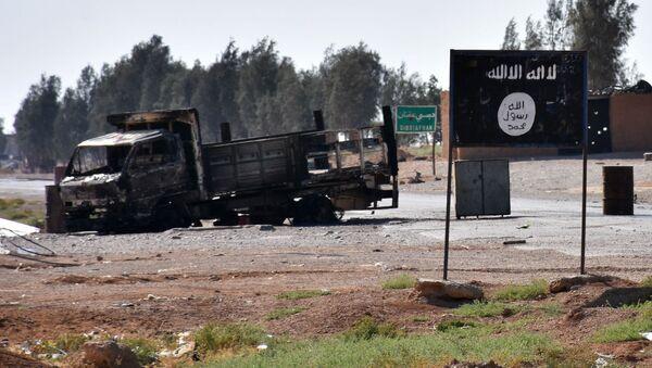 Vlajka IS v Sýrii. Ilustrační foto - Sputnik Česká republika