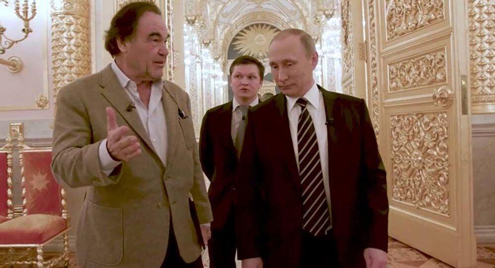 Oliver Stone a Vladimir Putin během interview