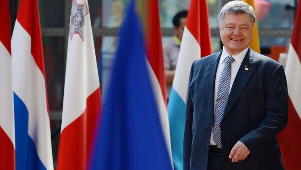 Ukrajinský prezident Petro Porošenko během schůzky Ukrajina-EU v Bruselu. - Sputnik Česká republika