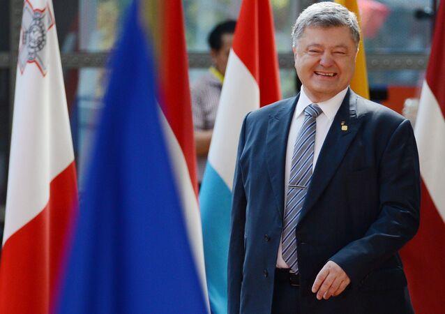 Ukrajinský prezident Petro Porošenko během schůzky Ukrajina-EU v Bruselu.