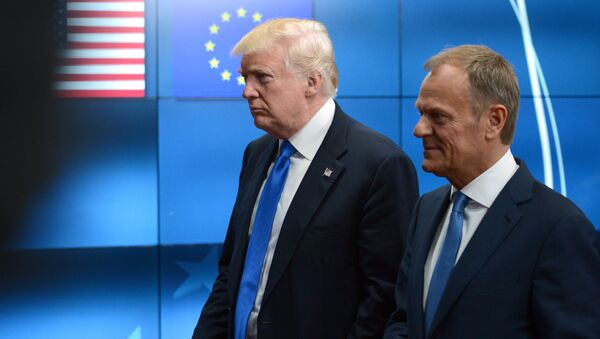 Americký prezident Donald Trump a předseda Evropské rady Donald Tusk - Sputnik Česká republika