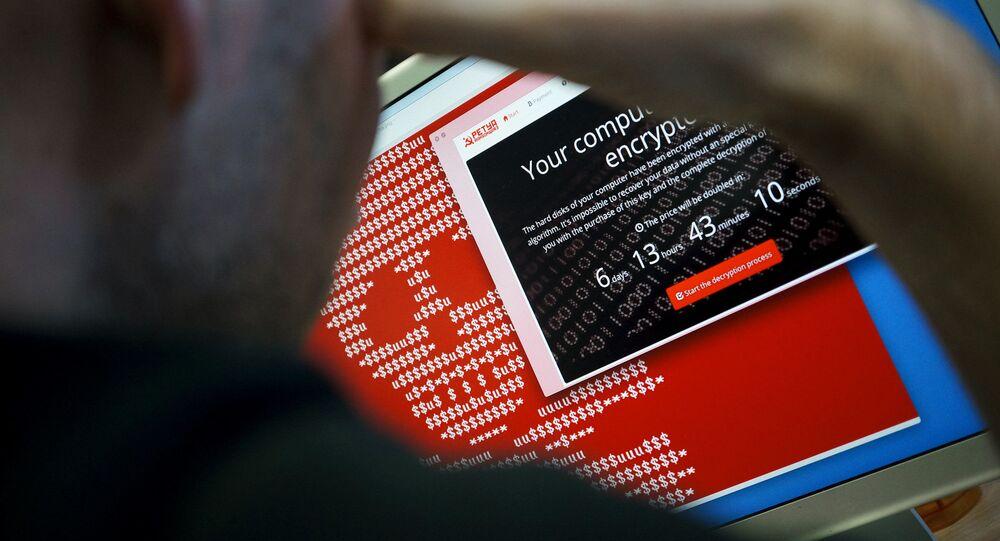 Počítač nakažený virem Petya