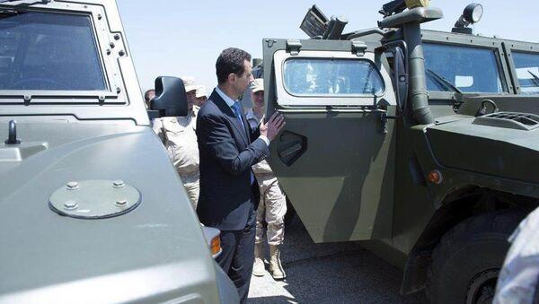 Syrský prezident Bašár Asad navštívil základnu ruských VKS Hmejmím. Archivní foto - Sputnik Česká republika