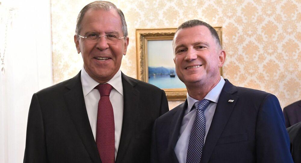 Ruský ministr zahraničních věcí Sergej Lavrov a izraelský předseda Knesetu Juli-Joel Edelstein