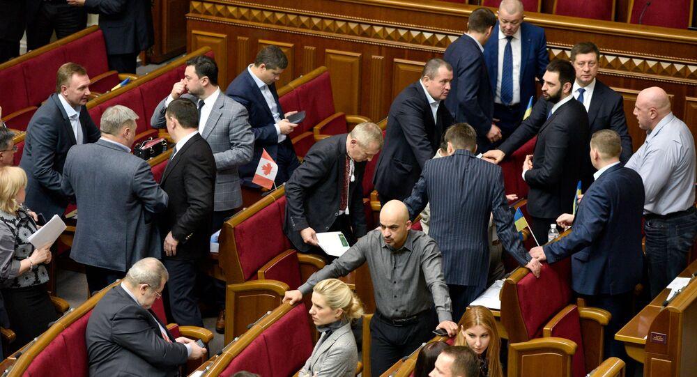 Poslanci na zasedání Nejvyšší Rady