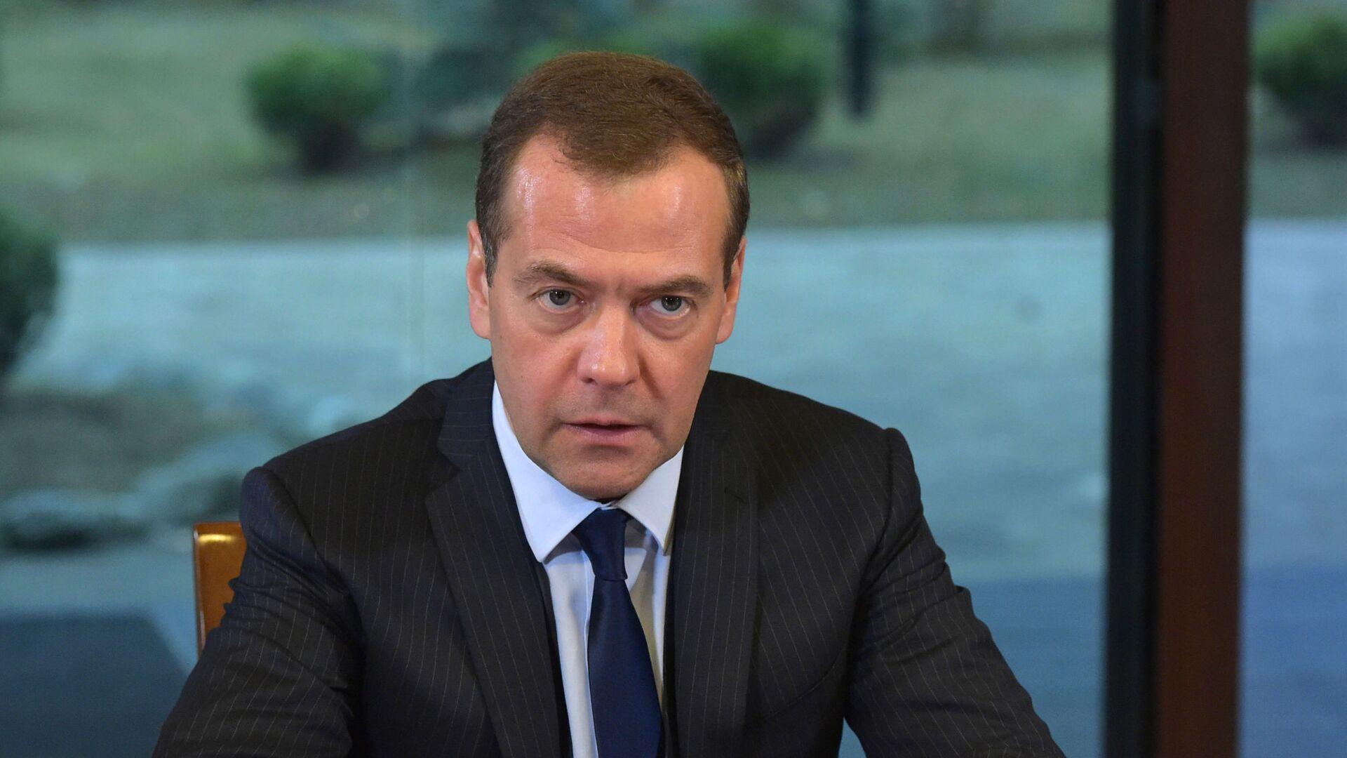 Председатель правительства РФ Дмитрий Медведев во время встречи с руководством фракции Единая Россия в Государственной думе Р - Sputnik Česká republika, 1920, 28.04.2021