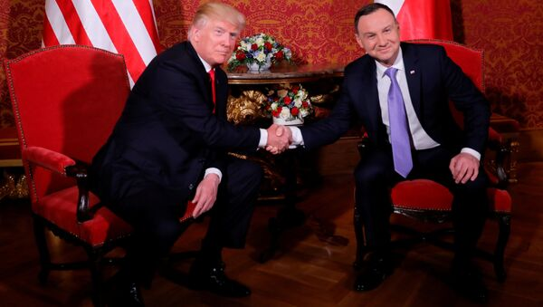 Polský prezident Andrzej Duda s prezidentem USA Donaldem Trumpem - Sputnik Česká republika