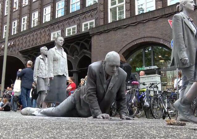Pokojná demonstrace proti summitu G20 v Hamburku