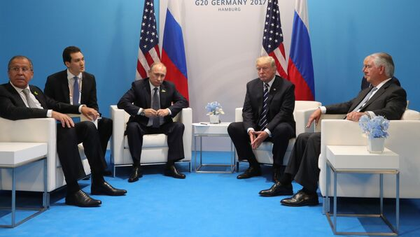 Schůzka ruského prezidenta Vladimira Putina s americkým prezidentem Donaldem Trumpem - Sputnik Česká republika