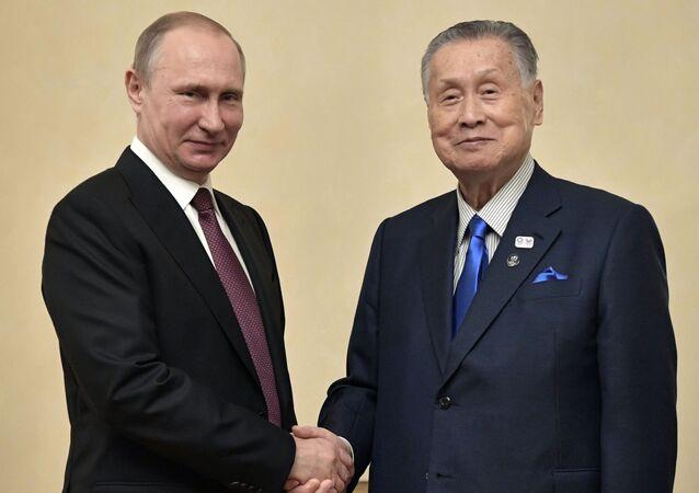 Setkání ruského prezidenta Vladimira Putina a bývalého japonského premiéra Joširó Moriho