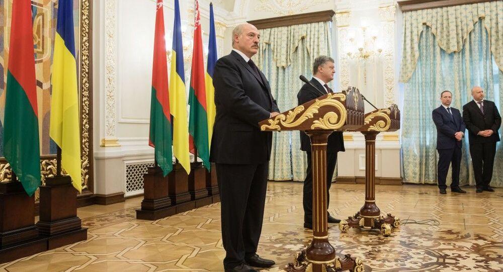 Brífink Alexandra Lukašenka a Petra Porošenka