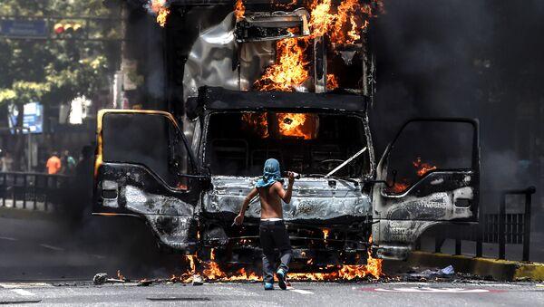 Protesty opozice v Caracasu, Venezuela - Sputnik Česká republika