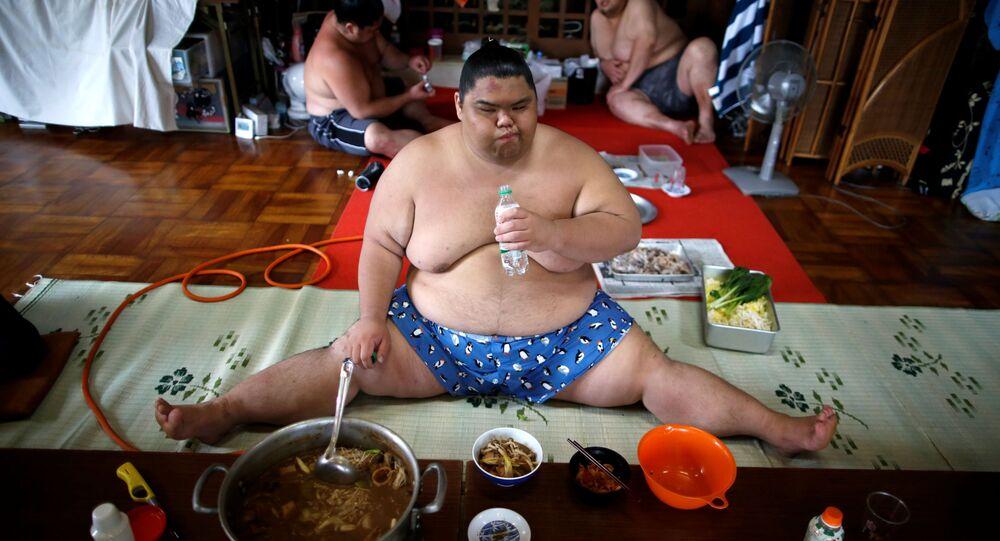 Bojovník sumo v hlavní síni chrámu Ganjoji Yakushido v Nagoji, Japonsko