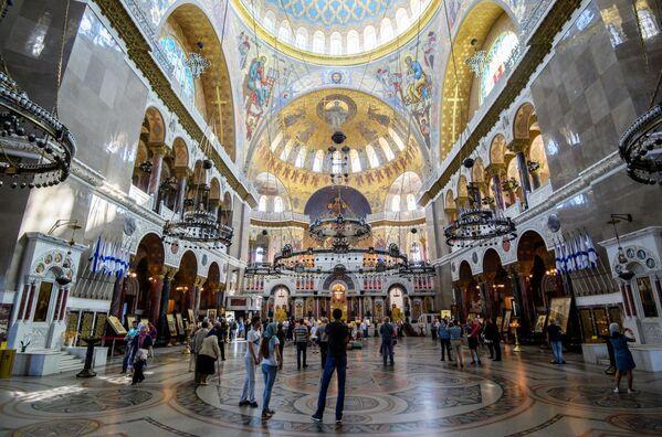 Chrám svatého Mikuláše v Kronštadtu je největší námořní chrám Ruského impéria – památník námořníkům, kteří zemřeli při plnění své služby - Sputnik Česká republika