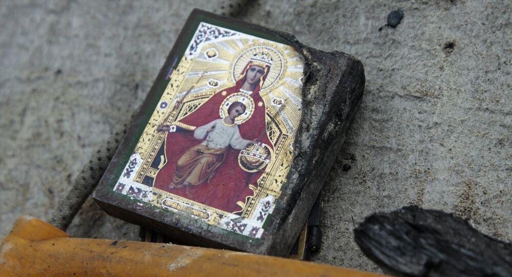Ikona na zemi v Doněcké oblasti. Archivní foto