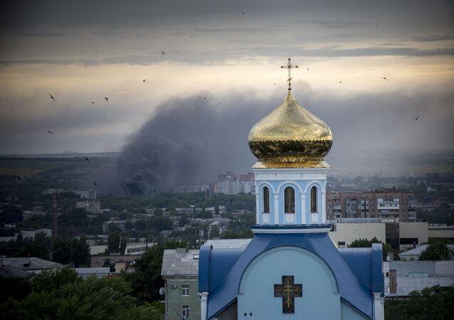 Požár v Luhansku (ilustrační foto)