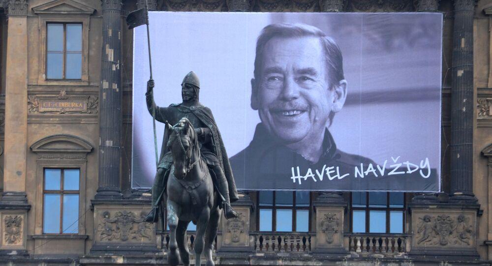 Portrét Václava Havla na Václavském náměstí. Ilustrační foto