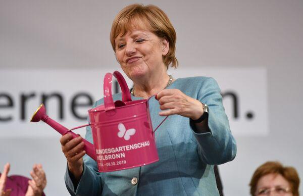 Německá kancléřka Angela Merkelová na akci Křesťanskodemokratické unie v Heilbronnu - Sputnik Česká republika