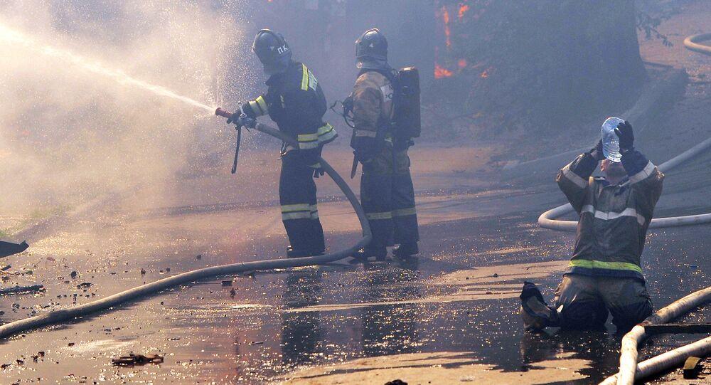 Požár ve městě Rostov na Donu