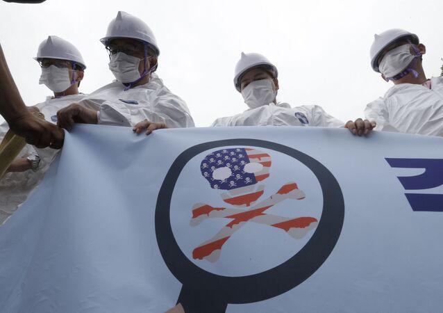 Mítink u vojenské základny USA v Soulu