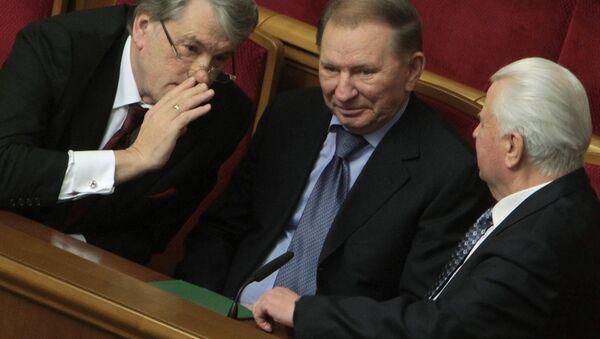 Bývalí ukrajinší prezidenti Viktor Juščenko, Leonid Kučma a Leonid Kravčuk - Sputnik Česká republika