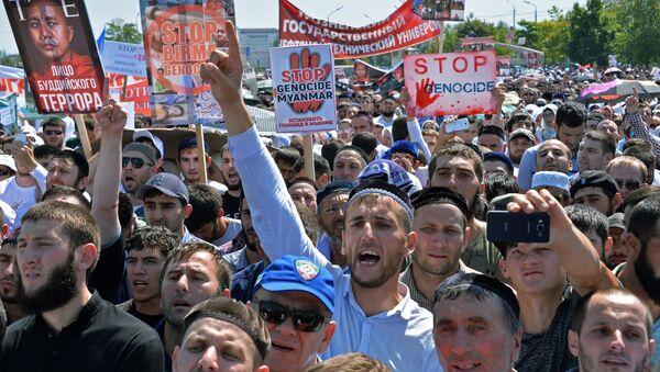 Mítink na podporu muslimských Rohingyů v centru Grozného - Sputnik Česká republika