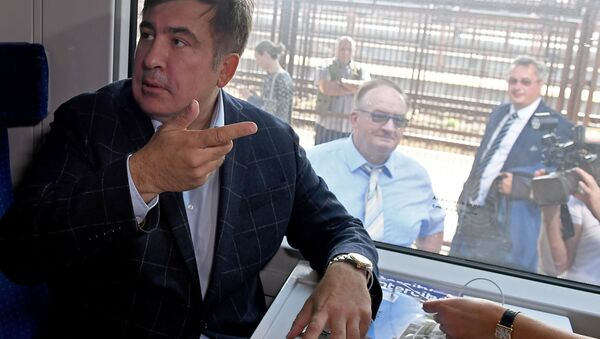 Michail Saakašvili ve vlaku, který směřuje na Ukrajinu - Sputnik Česká republika