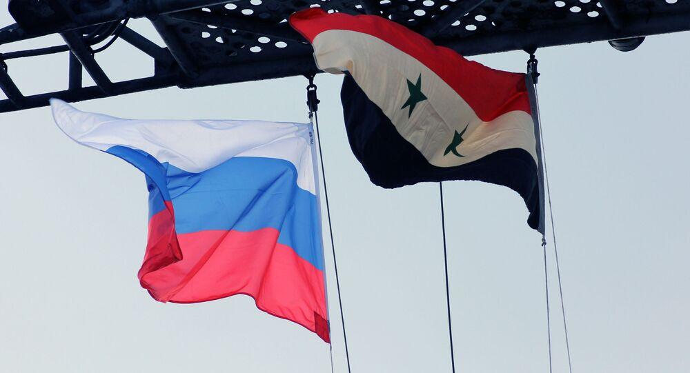 Vlajky Ruska a Sýrii