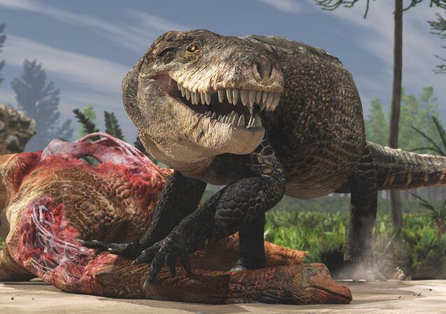 Pravěký gigantický krokodýl Razanandrongobe sakalavae, který žil a lovil na souši