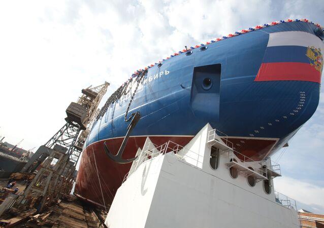 Spuštění korpusu ledoborce Sibiř na vodu