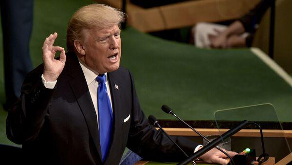 Americký prezident Donald Trump vystupuje na zasedání Valného shromáždění OSN v New Yorku - Sputnik Česká republika