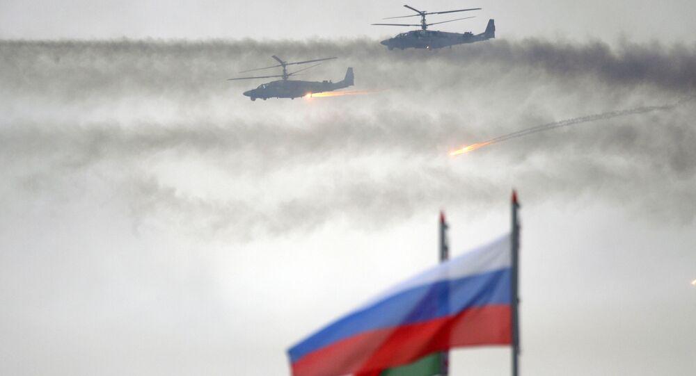Vrtulníky Ka-52 během cvičení Západ 2017