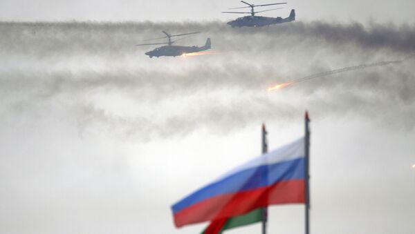 Vrtulníky Ka-52 během cvičení Západ 2017 - Sputnik Česká republika