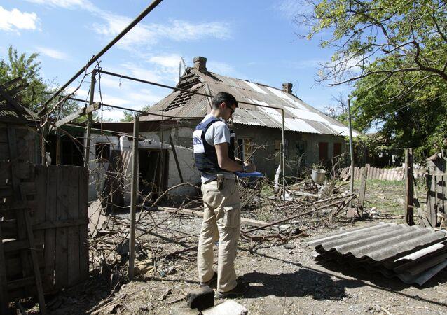 Příslušník OBSE v Doněcké oblasti