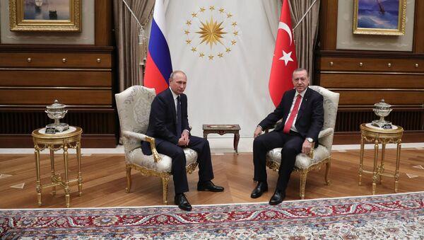 Prezident RF Vladimir Putin a turecký prezident Recep Erdogan během schůzky v Ankaře - Sputnik Česká republika