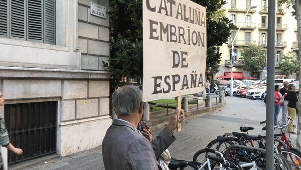 Un ciudadano se manifiesta ante la Delegación del Gobierno central en Barcelona a favor de la unidad de España - Sputnik Česká republika