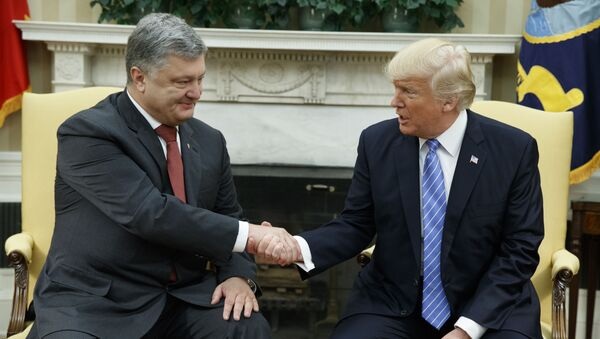 Ukrajinský prezident Petr Porošenko a americký prezident Donald Trump - Sputnik Česká republika