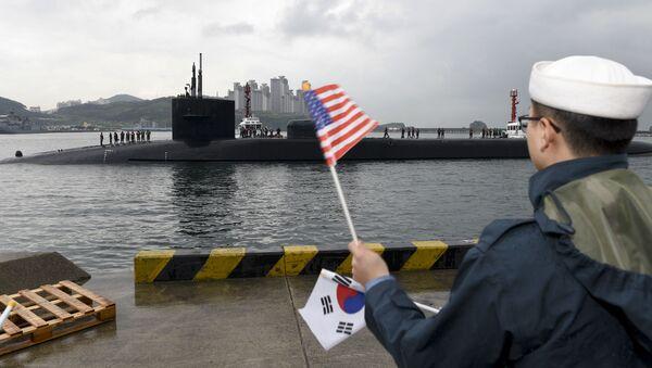 Jaderná ponorka Michigan v jihokorejském přístavu Busan - Sputnik Česká republika