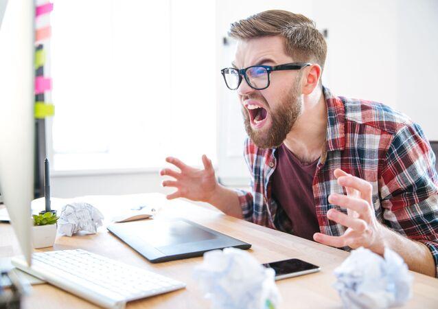 Křičící muž v práci