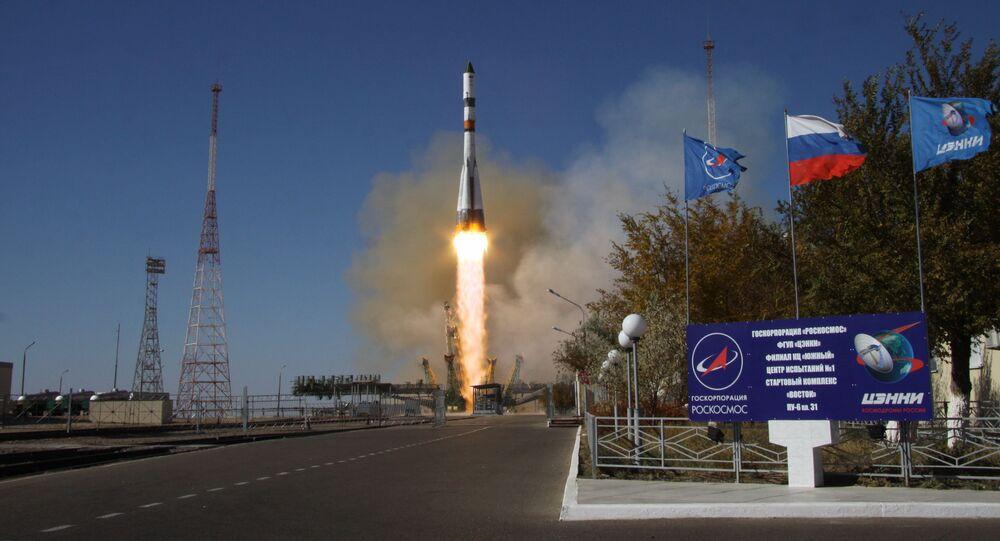 Start nosné rakety Sojuz 2.1a s nákladní vesmírnou lodí Progress MS-07