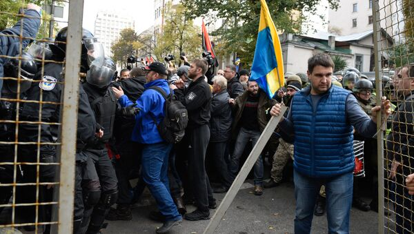 Mítink před parlamentní budovou v Kyjevě - Sputnik Česká republika
